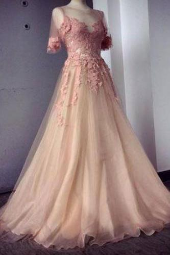 2016 Appliques and Tulle Prom Dresses, Floor-Length Prom Dresses, Sexy Prom Dresses, Half Sleeve Prom Dresses, Charming Evening Dresses