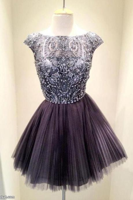 Short Dark Grey Bead Tulle Prom Dress, Custom Made Prom Dress, Short Prom Dresses, Knee-length Formal Dress, Homecoming Dresses, Party Dress, Cocktail Dress 2016