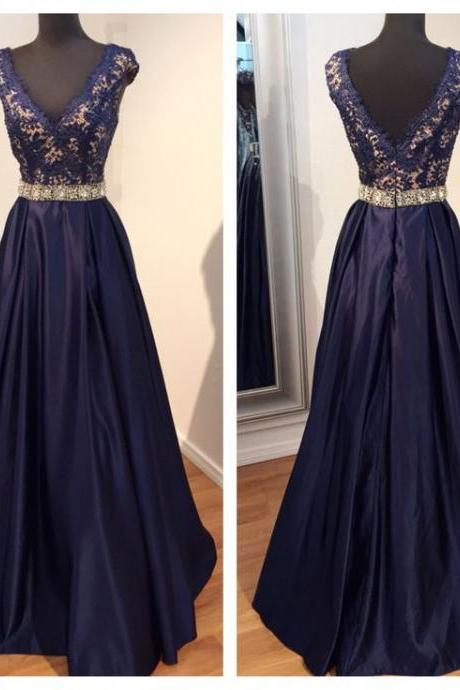 Glamorous Prom Dress,Navy Blue Prom Dress,Lace Prom Dress,Beaded Prom Dress,Cap Sleeve Prom Dress,Long Prom Dress,Prom Ball Gowns,V-Neck Prom Dress,Satin Prom Dress,Prom Dress Plus Size