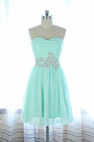 Mint Green Homecoming Dress,Chiffon Homecoming Dresses,Cheap Homecoming Gowns,Strapless Prom Dress,Short Prom Dresses,Sweet 16 Dress,Cute Homecoming Dresses For Teens