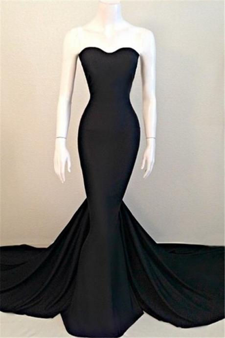 Sexy Mermaid Evening Dress, Black Prom Dresses, Sweetheart Evening Dress 2016, Sleeveless Sweep Train High Quality Wedding & Evening Prom Dresses