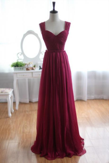 Long Chiffon Prom Dress, Burgundy Prom Gowns, Bridesmaid Dresses, Long Prom Dress, Backless Evening Dress