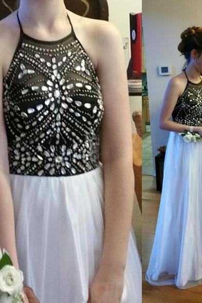 Charming Prom Dress,Halter Prom Dress,A-Line Prom Dress,Sequined Prom Dress,Girl's Graduation Dress