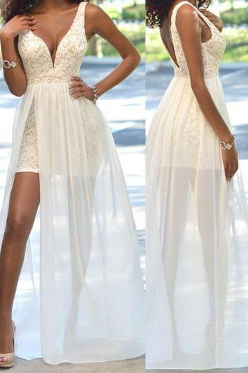 Sexy V-neck Lace Prom Dresses,Side Slit Prom Dress,Long Chiffon Prom Dresses, Hommecoming Dress, Prom Dress for Teens