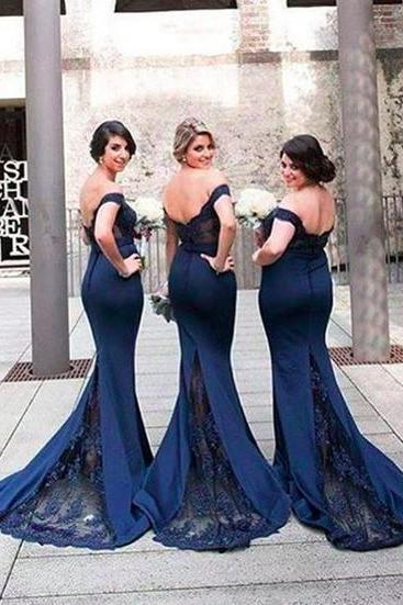 Gorgeous Off-the-shoulder Mermaid Long Navy Bridesmaid Dress, Prom Dress with Train, Mermaid Bridesmaid Dress, Bridesmaid Dresses, Navy Blue Bridesmaid Dress