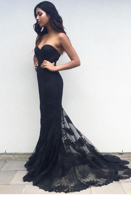 Charming Black Sweetheart Neck Lace Train Long Prom Dress, Black Evening Dress, New Arrival Prom Dress, Mermaid Prom Dress, Formal Dresses