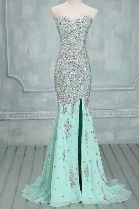 Elegant Mermaid Sweetheart Sweep Train Chiffon Evening/Prom Dress With Beading, Silver Crystals Beaded Prom Dress, Graduation Dresses, Slit Prom Dress, Green Prom Dress, Prom Dresses for Teens