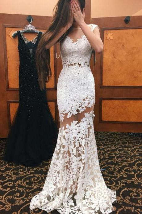 Sexy Lace Prom Dress, White Lace Prom Dress, Senior Prom Dresses, Mermaid Prom Gowns, Prom Dress for Teens, Formal Dress, Lace Evening Dress