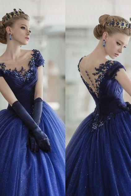 Charming Princess Prom Dress, Sweet 16 Dress, Ball Gowns, Blue Prom Dresses, Sweet 15 Dresses, Ball Gown Prom Dress, Cap Sleeve Prom Dresses