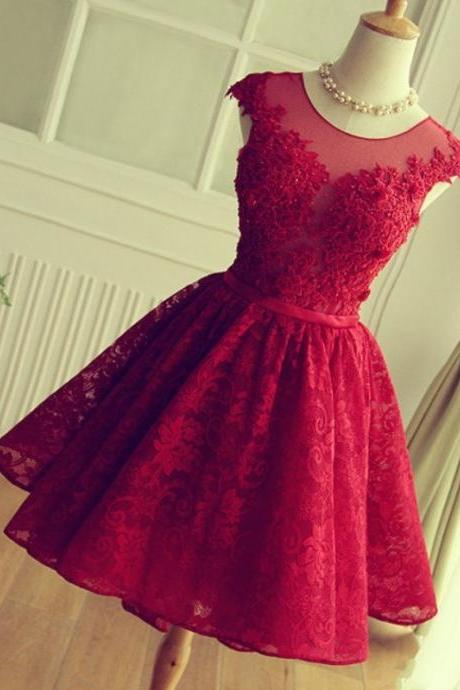 Adorable Knee-length Red Short Lace Prom Dress Homecoming Dress, Red Lace Homecoming Dresses, Short Prom Gowns, Graduation Dresses, Vestidos De Fiesta Cortos,Red Lace Prom Dress