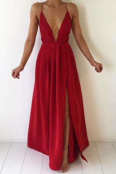 Deep V Neck Long Chiffon Prom Dress, Backless Evening Dress, Sexy Open Back Spaghetti Strap Party Dress, Red Prom Dress, Formal Dress