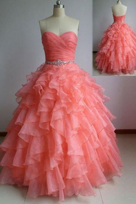 Beautiful Coral Ball Gown Sweetheart Prom Dresses with Beadings, Coral Prom Dresses, Prom Dress 2016, Prom Gown, Sweet 16 Dress