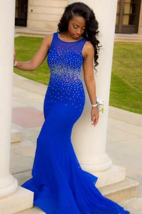 2016 Royal Blue Mermaid Prom Dresses, Open Back Prom Dresses, Beaded Prom Dresses, Prom Dresses with Sweep Train, Long Prom Dresses, Sexy Evening Gowns