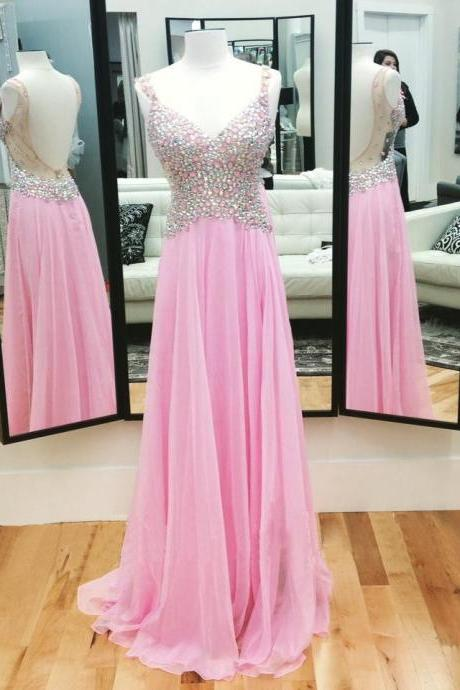 Unique Prom Dress, Sexy V-Neck Prom Dress, Pink Rhinestone Prom Dress, Popular Prom Dress, Backless Prom Dress, Evening Dress 2016