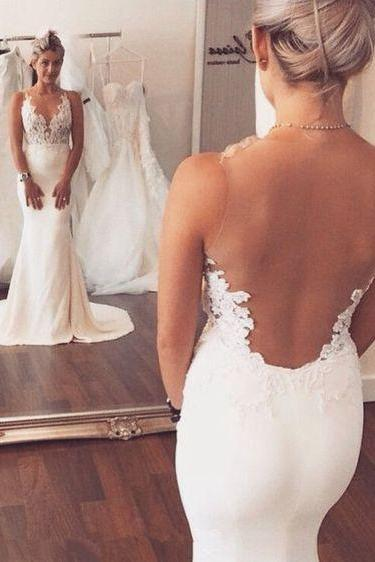 Charming Mermaid Wedding Dresses,Long See Through Wedding Dresses,Wedding Dresse