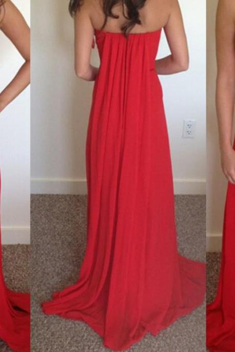 Beautiful Red Slit Long Chiffon Prom Dresses, Red Prom Dresses 2016, Red Party Dresses 2016