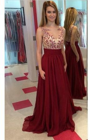 Long Chiffon 2016 Prom Dresses Lace Applique Floor Length Sleeves Evening Gowns, Burgundy Prom Dresses, Custom Prom Dresses, Formal Dresses, Prom Gowns
