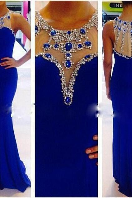 Charming Prom Dresses 2016, Scoop Sleeveless Prom Dresses, Floor Length Prom Dresses, Chiffon Prom Dresses, Crystal Prom Dresses, Split Side Prom Dresses, 2016 Mermaid Evening Dress, Vestido De Festa