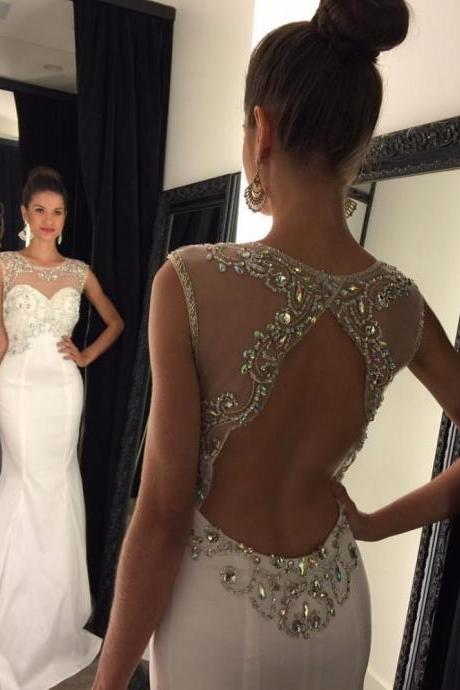Sexy Mermaid Prom Dresses 2016, Sleeveless Prom Dresses, Backless Prom Dresses, Prom Dresses Sweep Train, Crystal Beaded Prom Dresses, White Party Dresses, Sexy Formal Dress