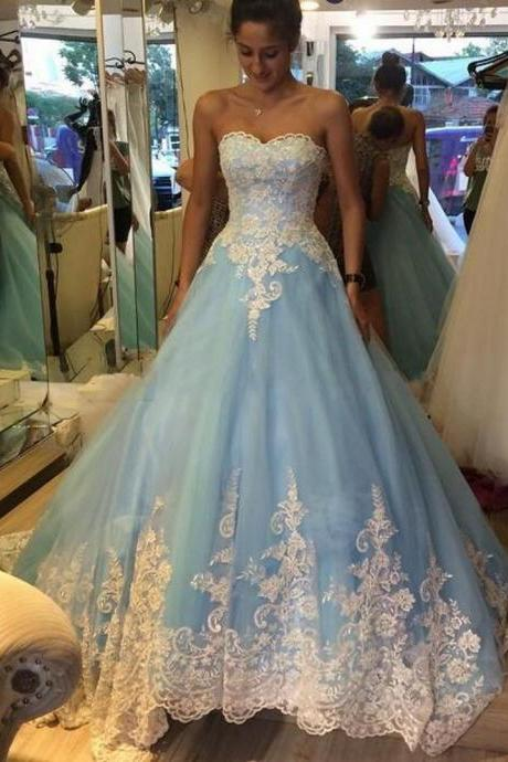 Custom Made Wedding Dresses, Wedding Dresses 2016, Lace Appliques Wedding Dresses, Blue Wedding Dresses, Sweetheart Backless Court Train, Vestido de Noiva, Bridal Gowns