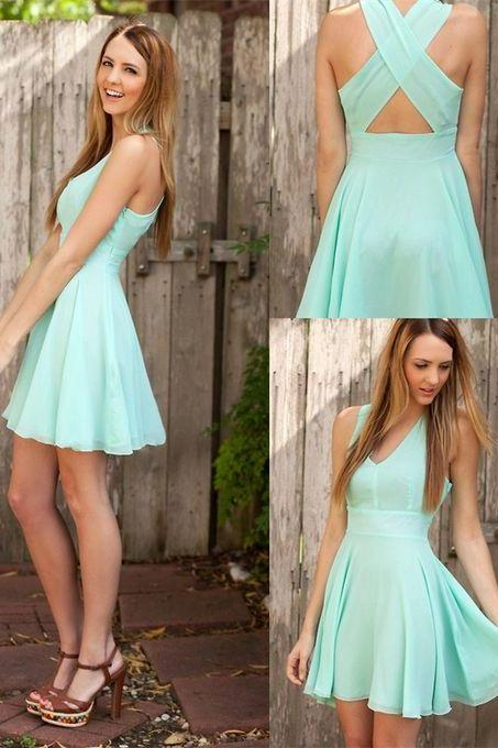 Charming Chiffon V-neck Short Prom Dress,X-back Cute Homecoming Dresses, Short Prom Dress, Criss-Cross Homecoming Dress, Short Homecoming Dresses, Chiffon Dress for Woman
