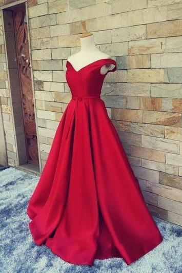 Prom dress 2016, Pretty Wine Red off Shoulder Long Prom Dress, Ball Gown, Wine Red Prom Dress, Cap Sleeve Prom Dress, A Line Prom Dress, Long Prom Dress, Satin Prom Dress, Elegant Prom Dress, Cheap Prom Dress