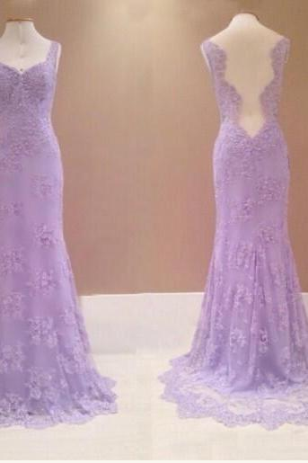 Charming Lilac Prom Dresses, Lace Prom Dresses, Vintage Prom Gown,Mermaid Evening Gowns,Lace Party Dress,Lace Evening Dress,2016 Prom Dress
