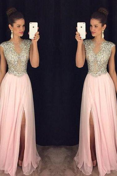Charming Beading Prom Dresses, Pink Chiffon Prom Dress, Sexy Slit Prom Dress, A-line Prom Dress, See-through Prom Dress, Crystals Beaded Evening Dress, Prom Dress for Teens