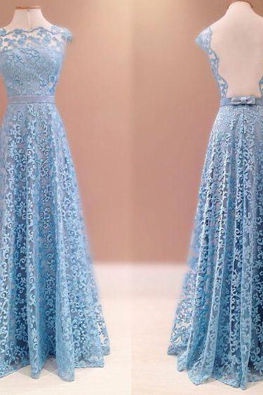 Prom Dresses Real Image, Blue Lace Prom Dresses, Elegant Formal Evening Dress, Vestido de Festa Para Formatura, Madrinha de Casamento, Lace Evening Gowns,Backless Prom Gowns