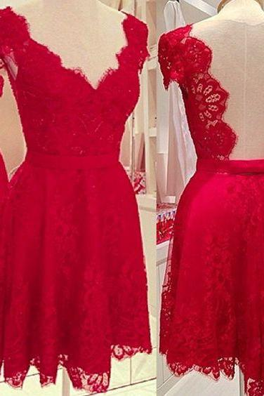 Short Red Homecoming Dress, A Line Homecoming Dress, V Neckline Dress, Short Prom Dresses, Sleeves Lace Backless Party Dresses, Prom Dresses For Junior Teens, Graduation Dresses