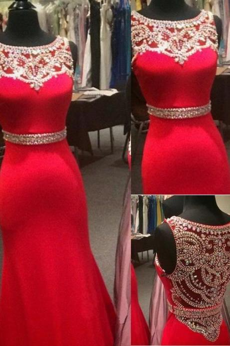 Modest Prom Dresses , New Design Red Satin Prom Dress, Slim Prom Dress, Beaded Prom Dress, Long Prom Dress, Prom dress 2016, Prom Dresses Long