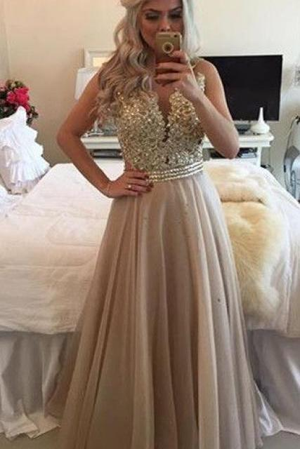 Sheer Illusion A-Line Prom Dresses, Prom Dresses Long, Open Back Prom Dresses for Teens, Evening Dresses Long, Champagne Lace Prom Dresses
