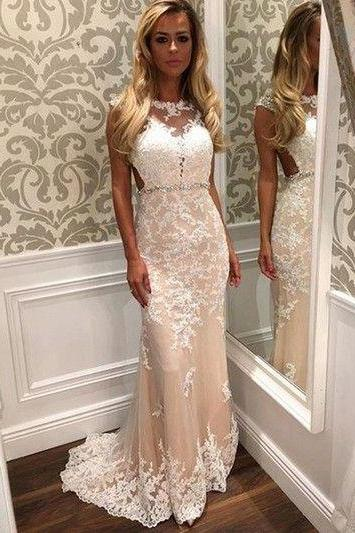 High Quality Prom Dress,Appliques Prom Dress,Mermaid Prom Dress,Tulle Prom Dress,Charming Evening Dress, White and Champagne Prom Gowns, Lace Prom Dress
