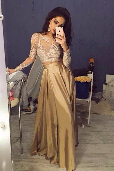 Unique Champagne Satin Lace Long Prom Dress for Teens,Evening Dress 2016, Sexy See Through Lace Prom Dress, Evening Gowns, Prom Dress with Long Sleeves, Lace Prom Dress