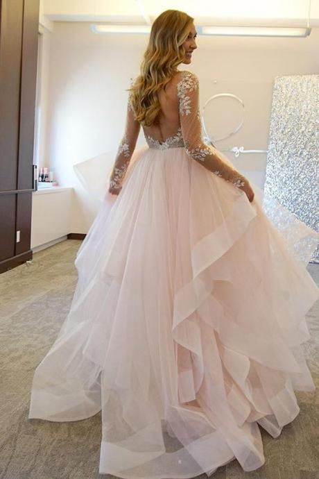 Fashion Bridal Dress, Wedding Dress 2017, Ball Gown Wedding Dresses, Lace Sheer Wedding Dress, Illusion Wedding Gown, Sexy Backless Wedding Dress