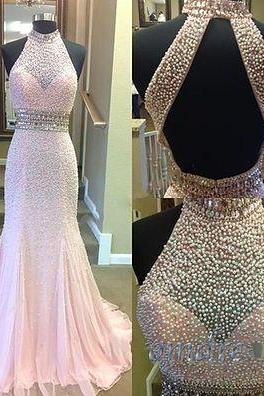 2016 Elegant High Neck Halter Pearl Beaded Pink Chiffon Prom Dress, Ball Gown, Prom Dresses Long, Beading Prom Dress, Senior Prom Dress, Prom Dresses for Teens, Party Dresses