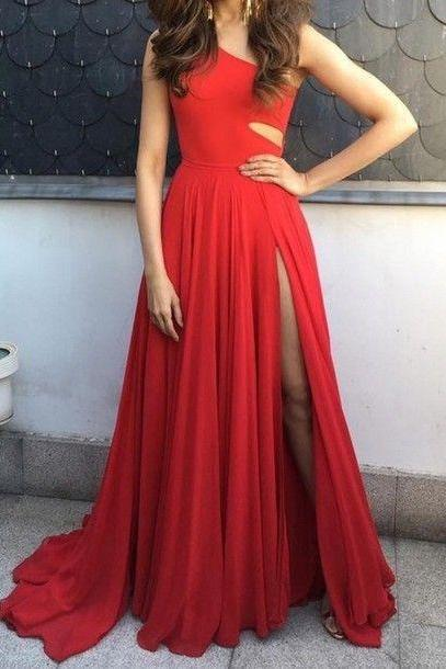 Cute A-line Chiffon Red Long Prom Dress for Teens, Unique Evening Dress, Wedding Guest Dresses, Prom Dress for Weddings and Evening, Red Prom Dress