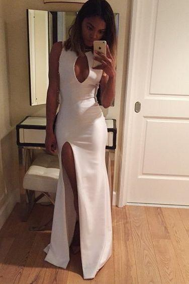 Charming White Prom Dress, Sexy Slit Prom Dress, High Neck Prom Dress, Sheath Prom Dress, Wedding Guest Dress, Party Dresses, Long Prom Dress, Formal Dress, Evening Gown, Prom Dresses 2016