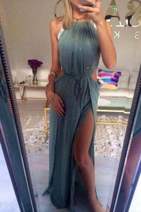 Sexy Prom Dress,Halter Prom Dress,Chiffon Prom Dress,Beach Evening Dress