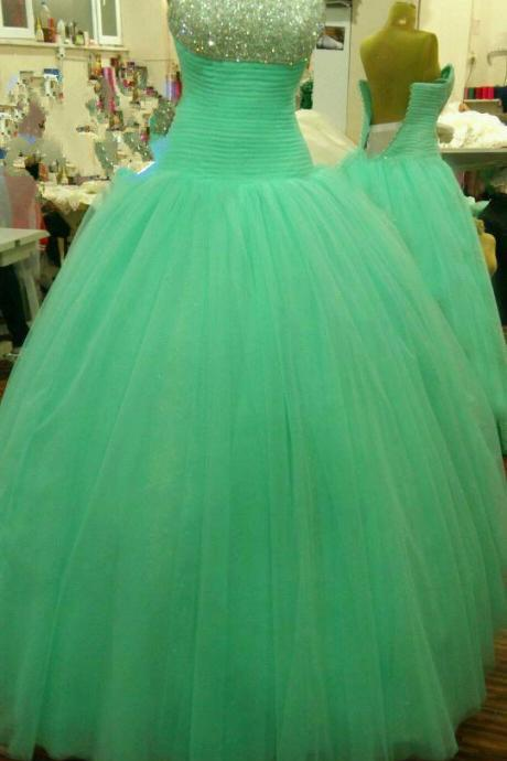 Mint Green Prom Dresses,Ball Gown Prom Dresses, Sweet 15 Dress, Puffy Tulle Prom Dress Beaded, Long Prom Dress, Long Dresses,Evening Dress,Mint Prom Gowns, Pageant Dress,Sweetheart Prom Dress