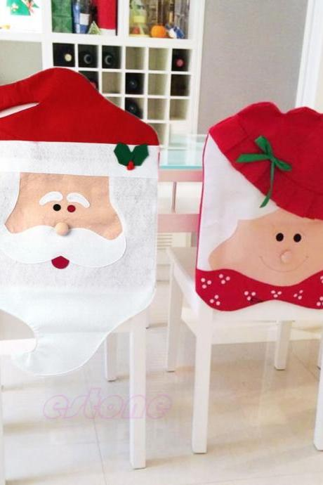1pc / 1set Lovely Christmas Chair Covers Mr & Mrs Santa Claus Christmas Decoration Dining Room Chair Cover Home Party Decorations, Christmas Decorations for Home