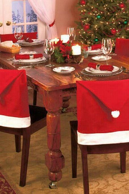 4PCs Santa Claus Hat Chair Covers Christmas Decoration For Home, Christmas Decoration Dining Room Chair Cover, Home Party Decorations, Christmas Decorations for Home