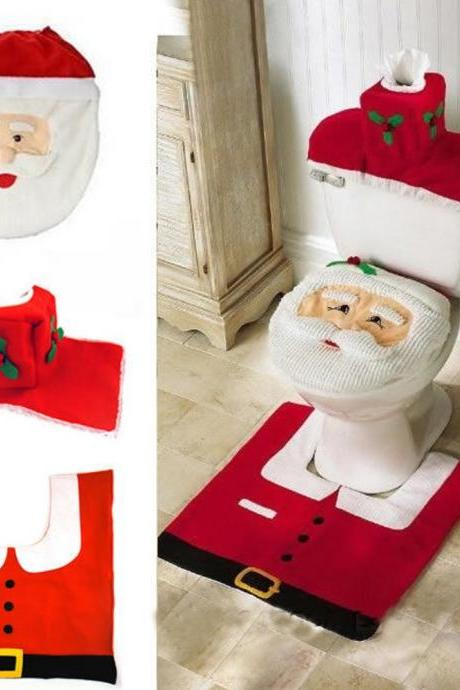 1set HOMESTIA Red Non-woven Santa Toilet Set Christmas Decor Toilet Seat Cover Tissue Box Cover Tank Cover Rug Xmas Decor
