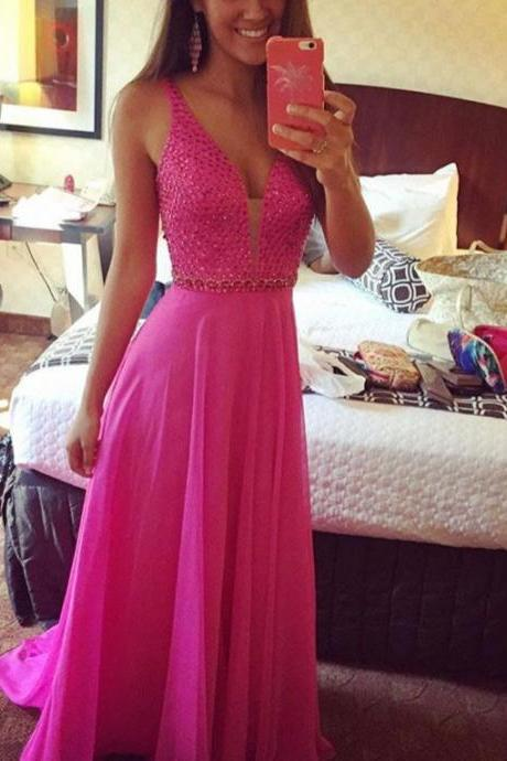Sexy Deep V-neck Beading Fuchsia Empire Long Chiffon Prom Dresses, Formal Evening Gowns, Long Party Dress, Beading Prom Gowns, Senior Prom Dress