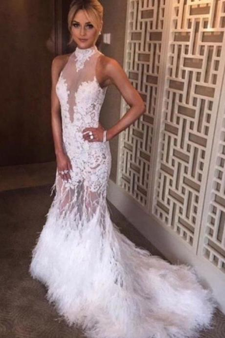 Charming Feather Lace Prom Dress, High Quality Prom Gowns, Luxury Prom Dress, Formal Evening Gowns, Elegant Halter Neck Ostrich Feather Mermaid Long Appliques Prom Dress with Court Train