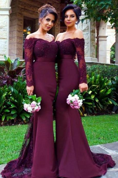 New Arrival Off-the-Shoulder Wine Red Trumpet/Mermaid Bridesmaid Dress, Long Sleeves Bridesmaid Dresses, Mermaid Prom Dress, Wedding Party Dresses