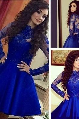 Long Sleeves Short Prom Dress,Royal Blue Homecoming Dresses,Lace Party Dresses, Short Homecoming Party Gown, Ball Gown, Graduation Dress