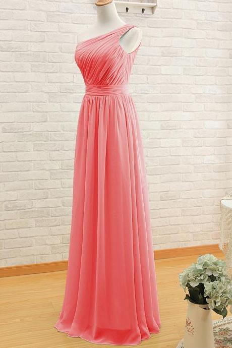 Simple Long One-Shoulder Chiffon Dress - Bridesmaid Dress, Formal Dress