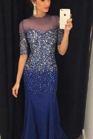 Modest Prom Dresses, Bling Navy Blue Prom Dresses,Navy Blue Prom Dress,Silver Beaded Formal Gown,Beadings Prom Dresses,Evening Gowns,Chiffon Formal Gown For Senior Teens