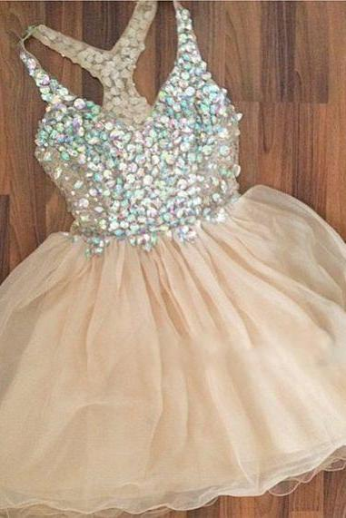 Sweetheart Chiffon Rhinestone Short Homecoming Dress, Prom Dress, Short Prom Dress,Evening Dress, Party Dresses, Champagne Homecoming Party Gown